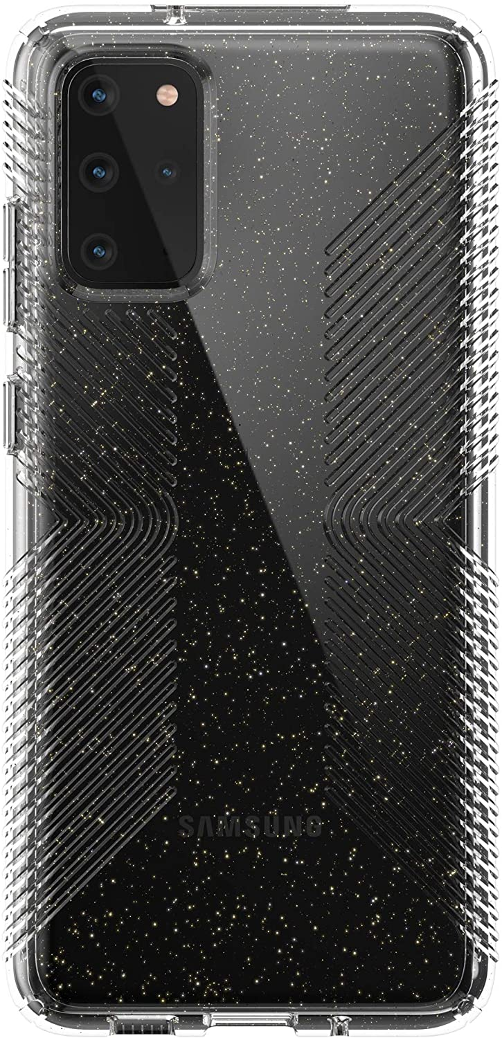 Speck Presidio Perfect-Clear with Grip + Glitter Samsung Galaxy S20+ Case - Clear with Gold Glitter/Clear