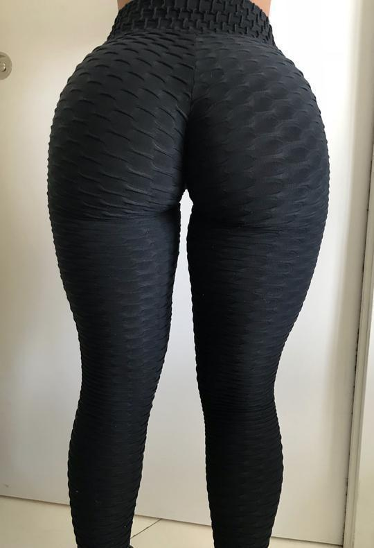 High Waist Booty Lifting Textured Slimming Anti-Cellulite Push Up Leggings - Gymflexfitness