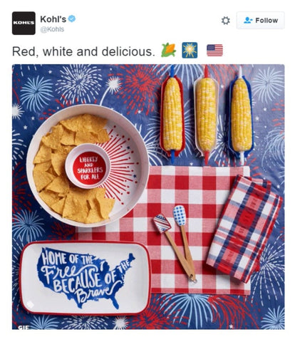 Here's another brilliant idea from Kohl's where they showcased their limited-edition 4th of July products.