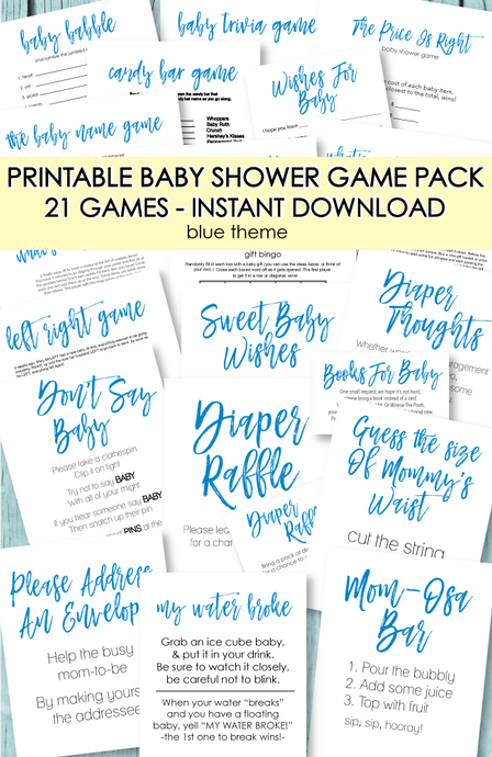 21 Printable Baby Shower Games - Super Game Pack In Blue - Amy Cordray