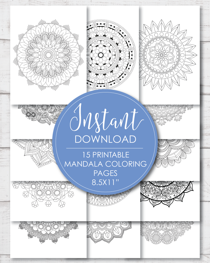 15 Printable Mandala Adult Coloring Sheets