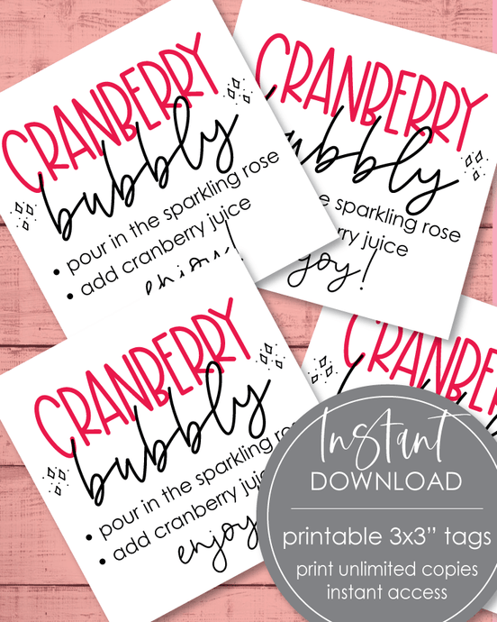 Printable Cranberry Bubbly In A Jar Tags - 3x3
