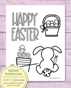 "Printable Happy Easter Coloring Sheet, 8.5x11"" - Amy Cordray"