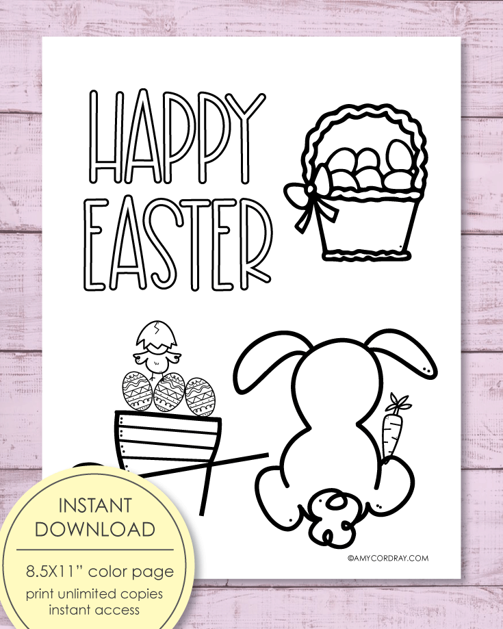 Printable Happy Easter Coloring Sheet, 8.5x11