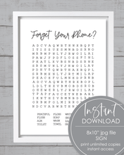 Load image into Gallery viewer, Printable Forget Your Phone Word Search Bathroom Sign - Amy Cordray
