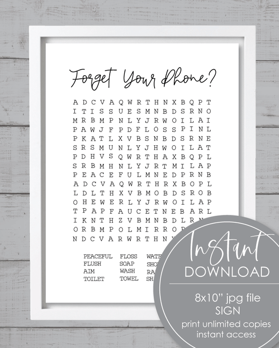 Printable Forget Your Phone Word Search Bathroom Sign - Amy Cordray