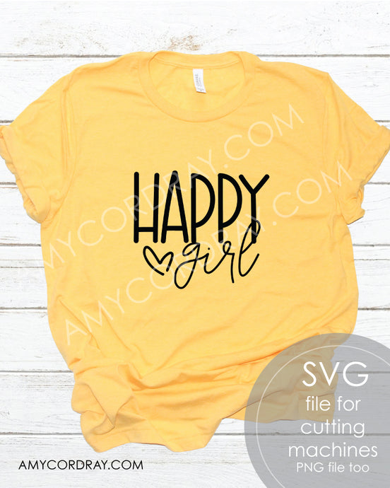 Happy Girl SVG Digital Cut File & PNG - Amy Cordray