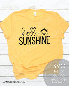 Hello Sunshine SVG Digital Cut File & PNG - Amy Cordray