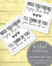"Load image into Gallery viewer, Printable Miss You Friend Tags - 3x3"" - Amy Cordray"