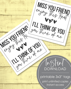 "Printable Miss You Friend Tags - 3x3"" - Amy Cordray"