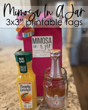 "Load image into Gallery viewer, Printable Mimosa In A Jar Tags - 3x3"" - Amy Cordray"