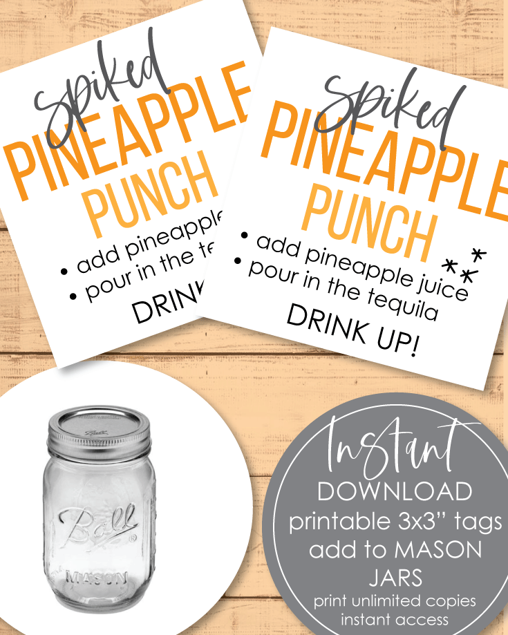Printable Spiked Pineapple Punch Tags - 3x3