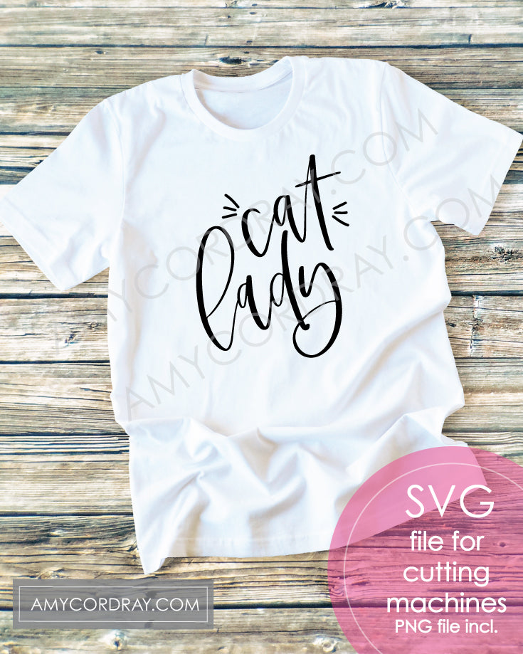 Cat Lady SVG Digital Cut File & PNG - Amy Cordray
