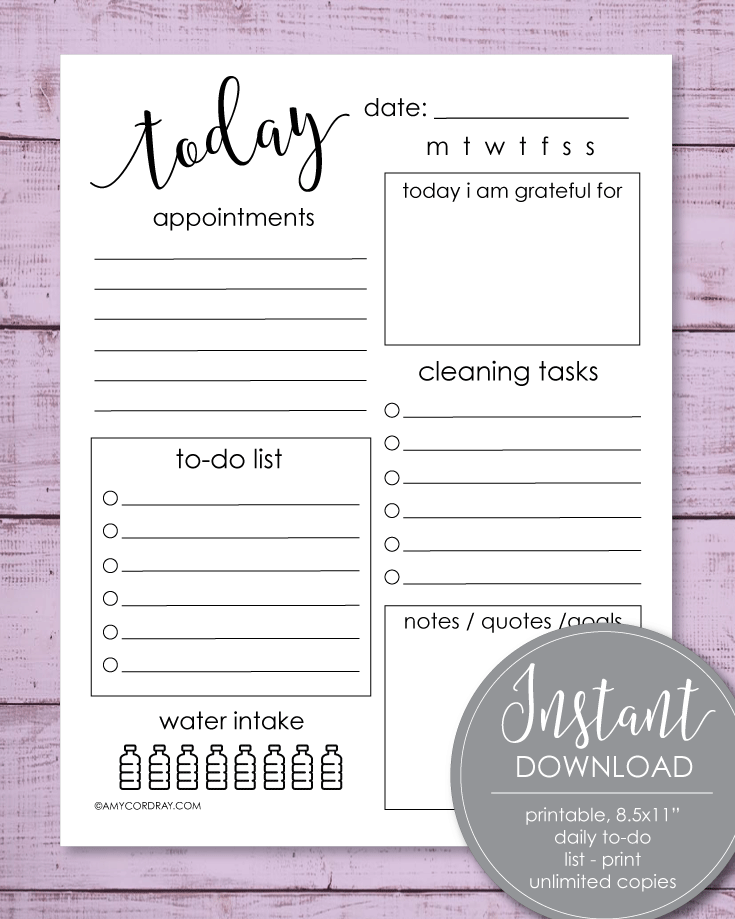 Printable Daily To-Do List, 8.5x11