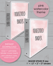 "Load image into Gallery viewer, Printable Household Binder Covers 8.5x11"" And Spine Inserts - Pink And Blue Watercolor - Amy Cordray"
