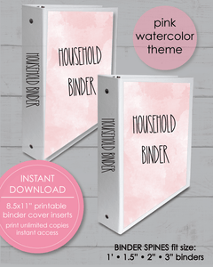 "Printable Household Binder Covers 8.5x11"" And Spine Inserts - Pink And Blue Watercolor - Amy Cordray"