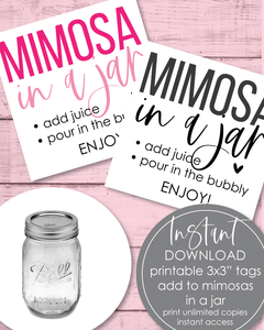 "Printable Mimosa In A Jar Tags - 3x3"" - Amy Cordray"