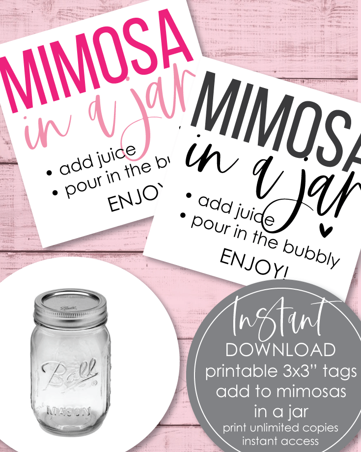 Printable Mimosa In A Jar Tags - 3x3