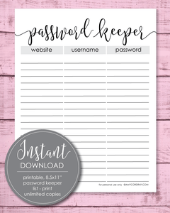 "Printable 8.5x11"" Password Keeper Sheet - Amy Cordray"