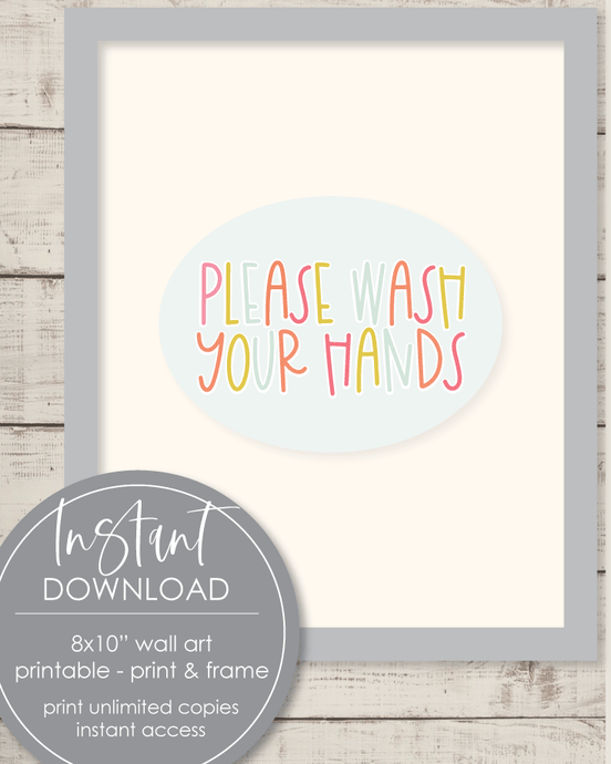 Printable Please Wash Your Hands, 8x10