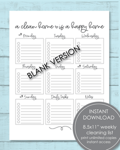 "Printable Weekly Cleaning Checklist PDF 8.5x11"" - Amy Cordray"