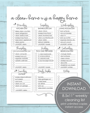 "Load image into Gallery viewer, Printable Weekly Cleaning Checklist PDF 8.5x11"" - Amy Cordray"