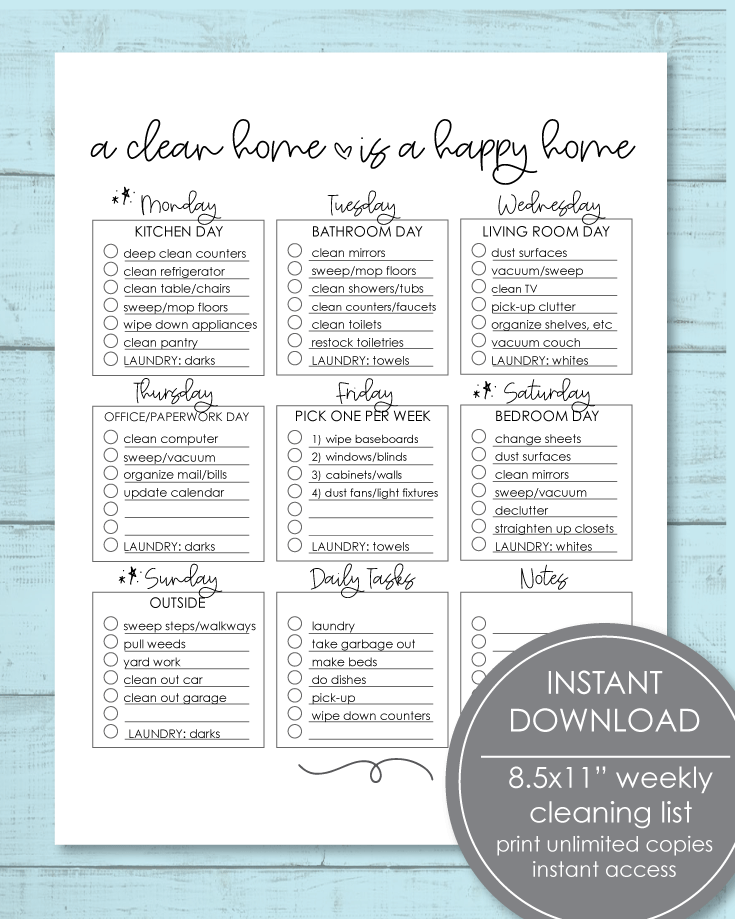 Printable Weekly Cleaning Checklist PDF 8.5x11