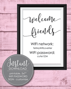 "Printable Wifi Password Sign - 5x7"" - Amy Cordray"