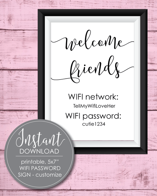 Printable Wifi Password Sign - 5x7