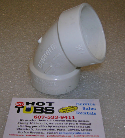 "1-1/2"" Sweep 45 Degree PVC Elbow, COMPACT"