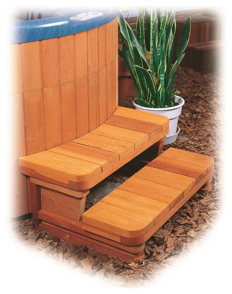 Double Curved Redwood Spa Step
