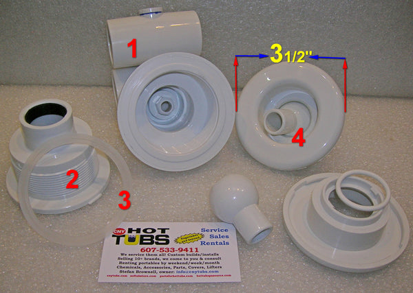 Wall Fitting(2) OR gasket (3) for Hydro-Air Converta'ssage Spa Jets