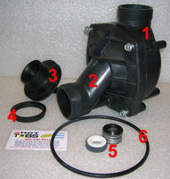 Jacuzzi JCM Spa Pump Housing ONLY (#1, 2 in photo)