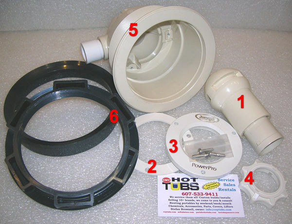 Jet Body Only (with ring and nut) for Jacuzzi HTA Type Jets (#5 IN PHOTO)