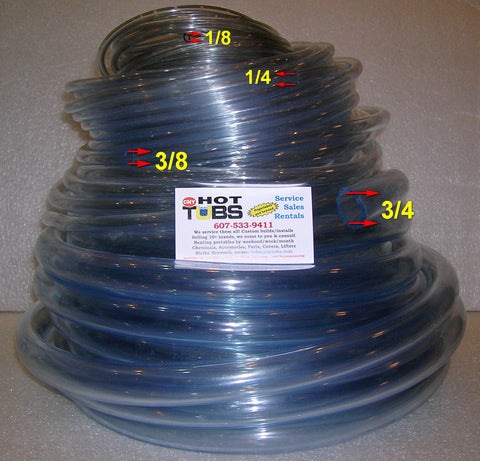 Vinyl Tubing for Spas - All Sizes, By the Foot or Rolls