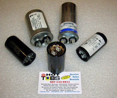 Spa Motor START Capacitors 125V, 1.44 X 2.75 (216-259 MFD)