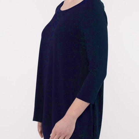 Scoop Neck 3/4 Sleeve Top - Navy