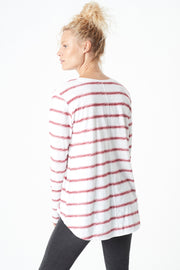 Gayle Long-Sleeve Tee - Crimson/White Stripe
