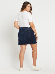 ALICE A LINE DENIM SKIRT Indigo Gold