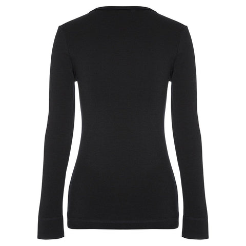 WOOLERINA LS V Neck - Black