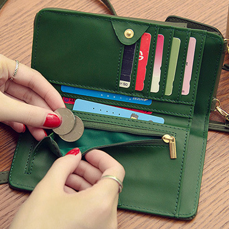 Green Women's Phone Wallet with Detachable Strap Bag