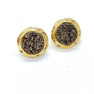 Druzy & Gold Stud Earrings