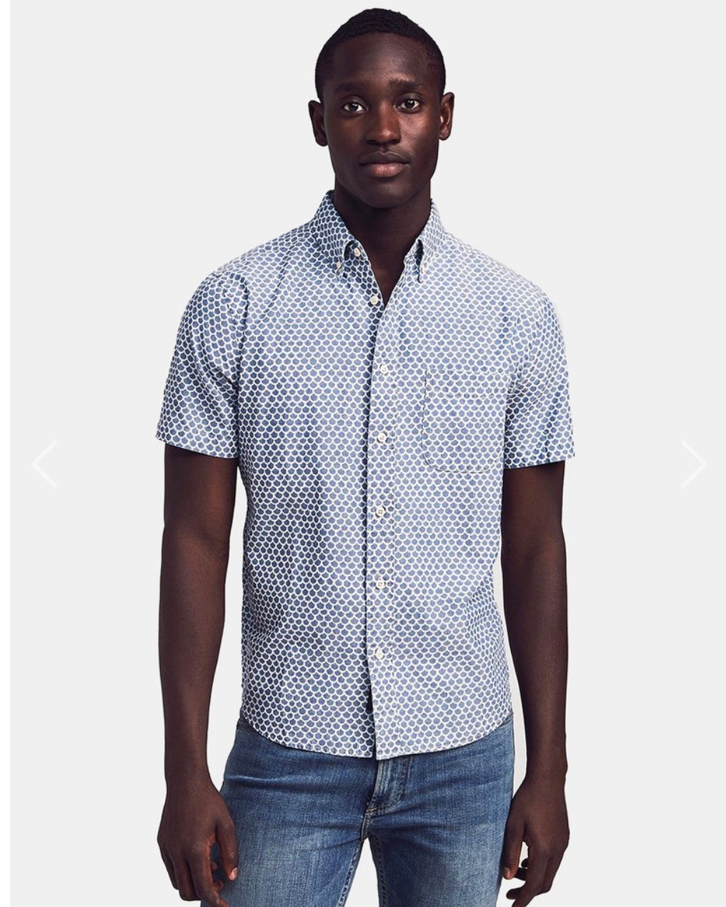 Short Sleeve Fish scale Cotton Button Up