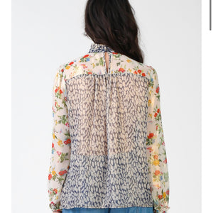 Metallic Floral Button Back Blouse