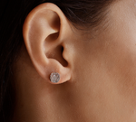 Pave Organic Wavy Disc Earring