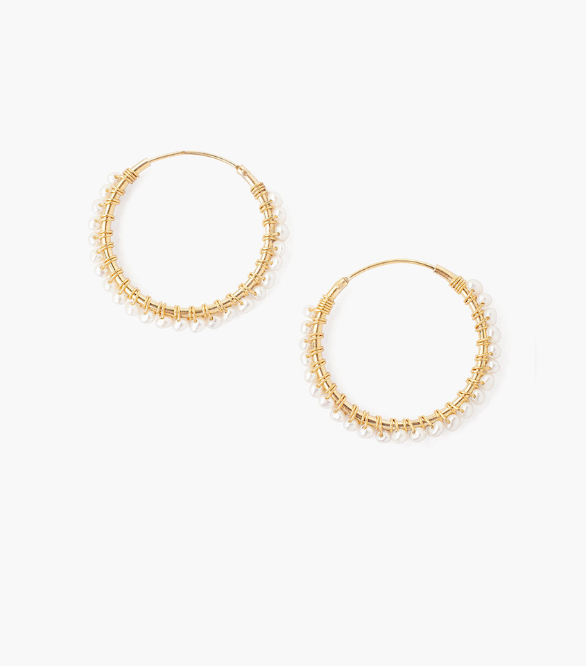 Mini White Pearl and Gold Hoop Earring