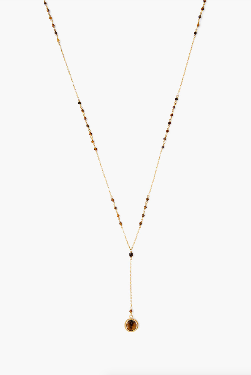 "TIGERS EYE 28"" GOLD Necklace"
