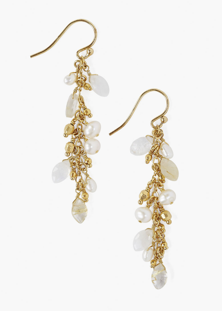 Moonstone Mix Chain Drop Earrings - Chan Luu