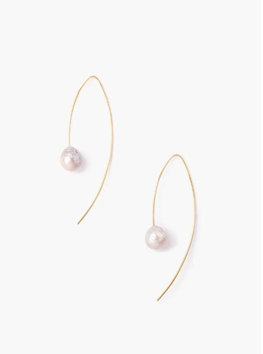 Grey and Gold Floating Pearl Drop Thread Thru Earring