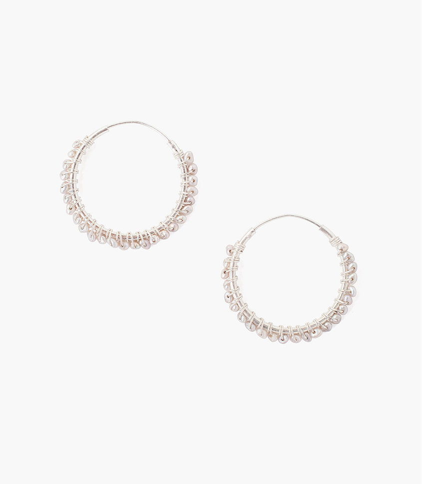Grey Pearl Sterling Silver Hoop Earring